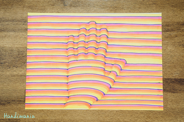 How to draw a 3D optical illusion of your hand