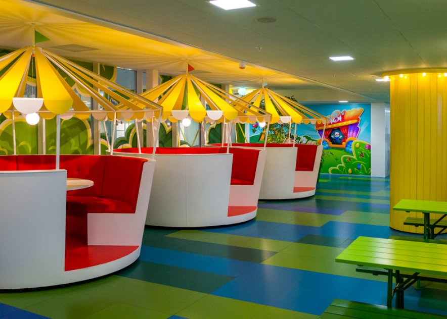 Candy Crush office features cartoon design