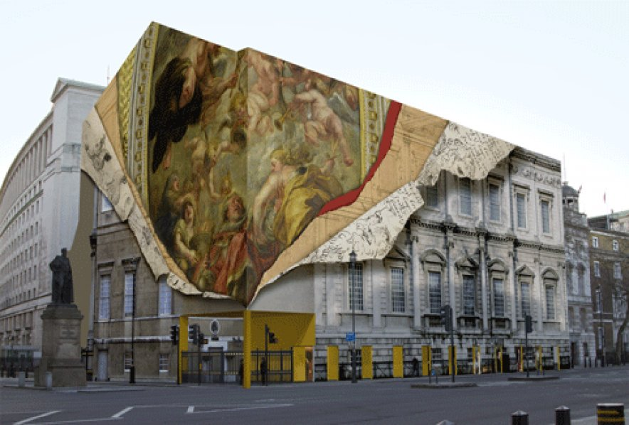 Iconic Building Gains Trompe L Oeil Wrap