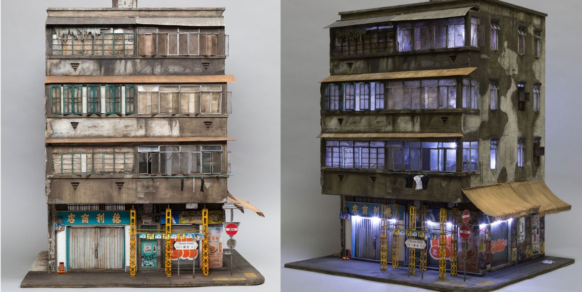 Miniature models of real distressed buildings