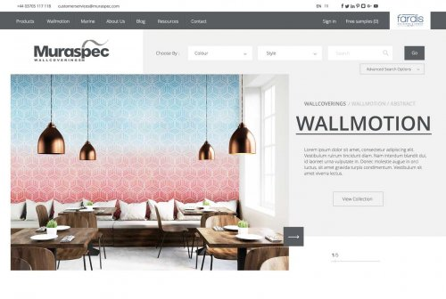 Muraspec Website for Interiors Sector
